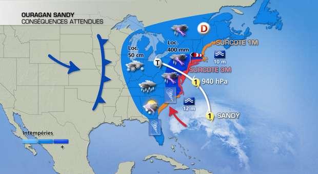 L'ouragan Sandy devrait arriver sur la côte est des États-Unis ce soir (heure française). Il devrait rencontrer un front froid provenant du Canada, représenté sur la carte par la courbe à triangles bleus. La rencontre des masses d'air froid et d'air chaud devrait amplifier la dépression. Sur la carte sont représentés les impacts attendus : les surcotes (hausse locale du niveau de la mer), pouvant atteindre 3 m, des précipitations torrentielles (peut-être, localement, jusqu'à 400 mm) et une houle pouvant atteindre 12 m. © La chaîne météo