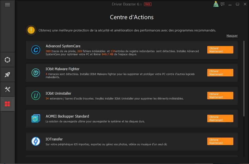 Vous pouvez télécharger de nombreux logiciels supplémentaires en passant par le centre d'actions ! © Iobit