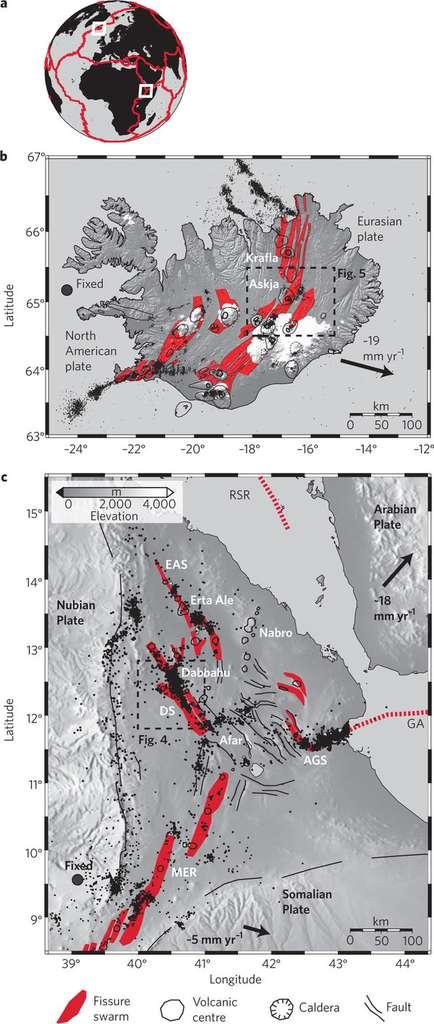 Les limites des plaques tectoniques impliquées dans l'étude sont présentées sur la figure A. Des agrandissements de l'Islande et l'Éthiopie sont respectivement présentés en B et en C. La couleur rouge indique les zones fragilisées par l'écartement des plaques lithosphériques et dans lesquels le magma peut s'insinuer. Les cercles et lignes noirs représentent des volcans et des failles. Le déplacement de chacune des plaques est indiqué par une flèche noire. Elle est accompagnée de la vitesse, exprimée en mm par an. © Wright et al. 2012, Nature Geoscience