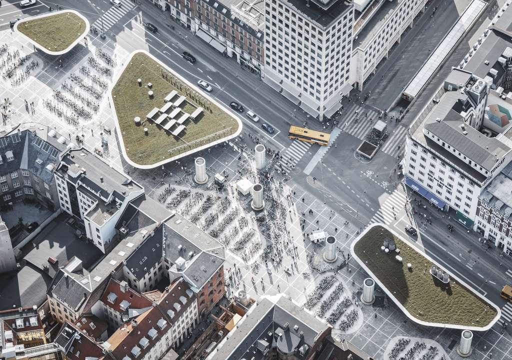 La station de métro de Nørreport (Copenhague, Danemark). © Cobe & Gottlieb Paludan Architects, Sweco, BYCS