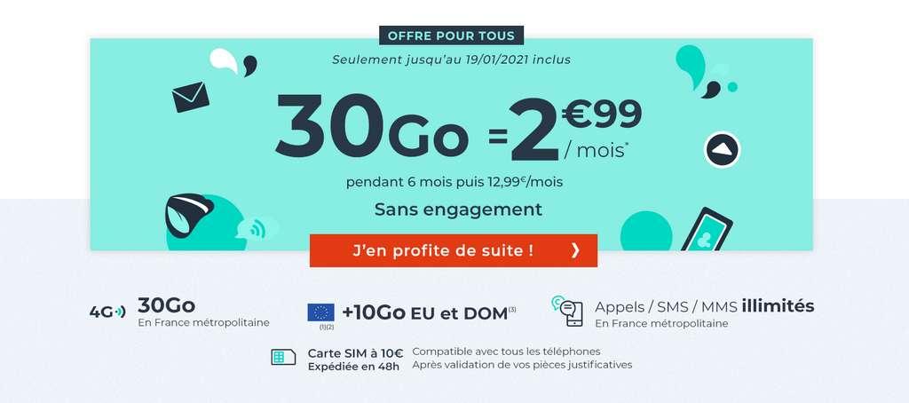 Forfait 30Go à seulement 2.99 €/mois © Cdiscount Mobile