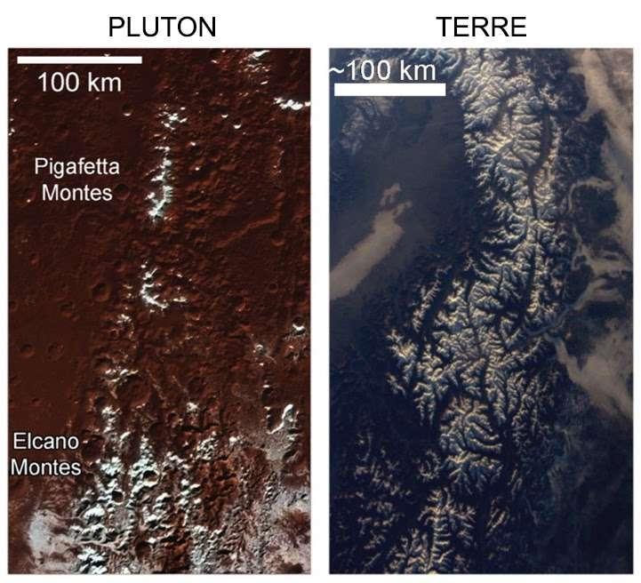 À gauche, la région de «Cthulhu» près de l'équateur de Pluton et à droite, les Alpes sur Terre. Deux paysages semblables, mais créés par des processus très différents. © Nasa/Johns Hopkins University Applied Physics Laboratory/Southwest Research Institute et Thomas Pesquet/ESA