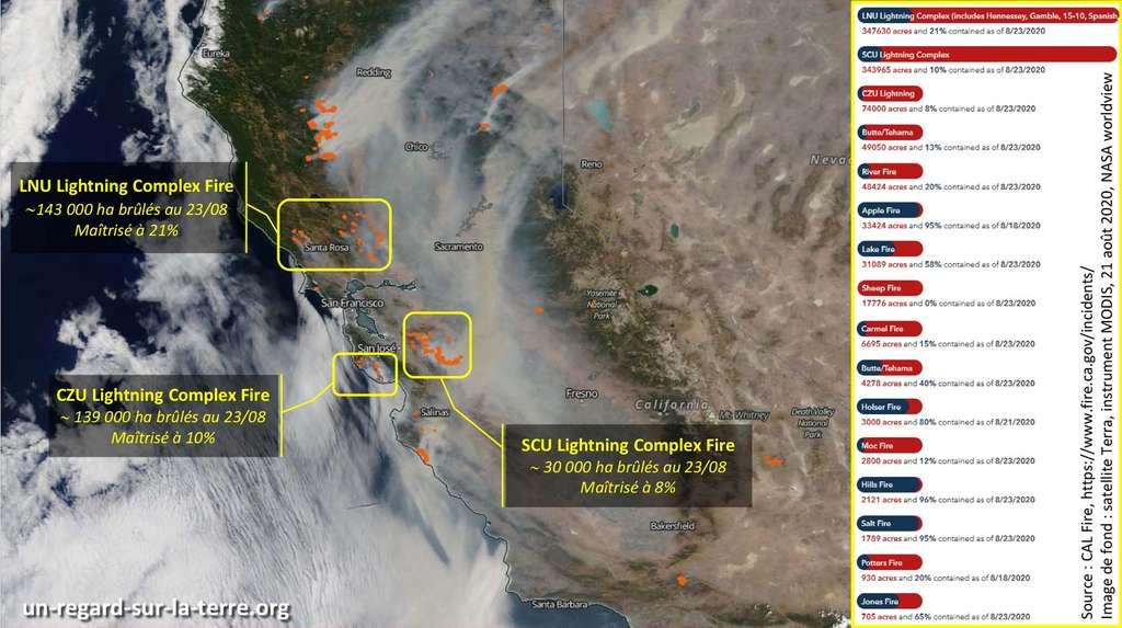 Carte montrant la localisation et les dégâts causés par les incendies LNU, SCU et CZU. L'image de fond a été acquise par le satellite Terra le 22 août 2020. Les surfaces brûlées sont fournies par Cal Fire (23 août). © Nasa, Worldview. Infographie Gédéon
