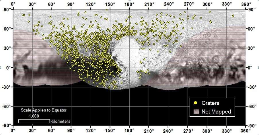 Distribution à la surface de la planète naine (exclusivement la partie survolée par New Horizons le 14 juillet) des quelque 1.000 cratères comptés par les chercheurs. Aucun n'a été signalé dans la vaste plaine Spoutnik, le ventricule gauche du cœur de Pluton, vraisemblablement formée il y a moins de 10 millions d'années. © Nasa, JHUAPL, SwRI