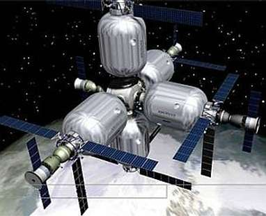 L'hôtel spatial imaginé par Robert Bigelow Les chambres réservées aux touristes seraient des modules gonflables (Crédits : Bigelow Aerospace )