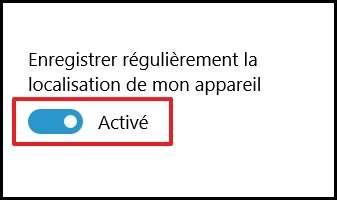 Mettez le curseur en position « Activé ». © Microsoft