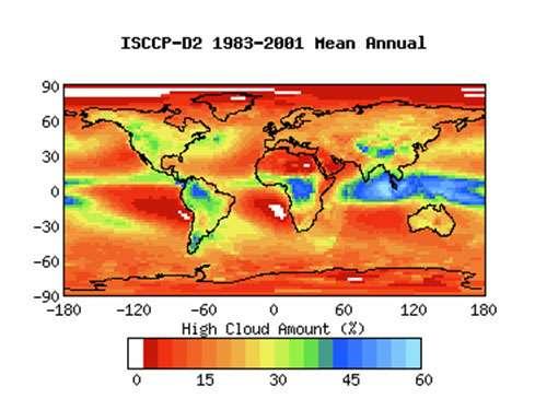 Figure 8: couverture de nuages hauts d'après ISSCCP (voir note 7). On notera les concentrations très élevées dans les zones de convection tropicale à l'ouest du Pacifique et, au contraire, la faible concentration sur le Pacifique Est