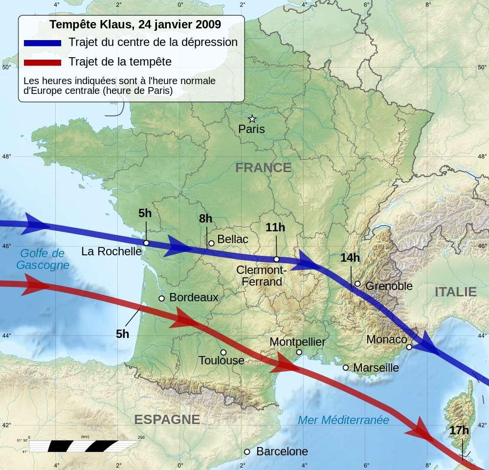 Trajectoire de la tempête Klaus de 2009. © Semhur, Wikimedia commons, CC 4.0