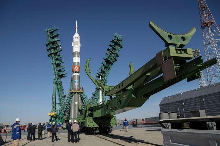 La fusée Soyouz MS-17 avant son décollage à Baïkonour, au Kazakhstan, le 11 octobre 2020. © Handout, Russian Space Agency, Roscosmos, AFP, Archives