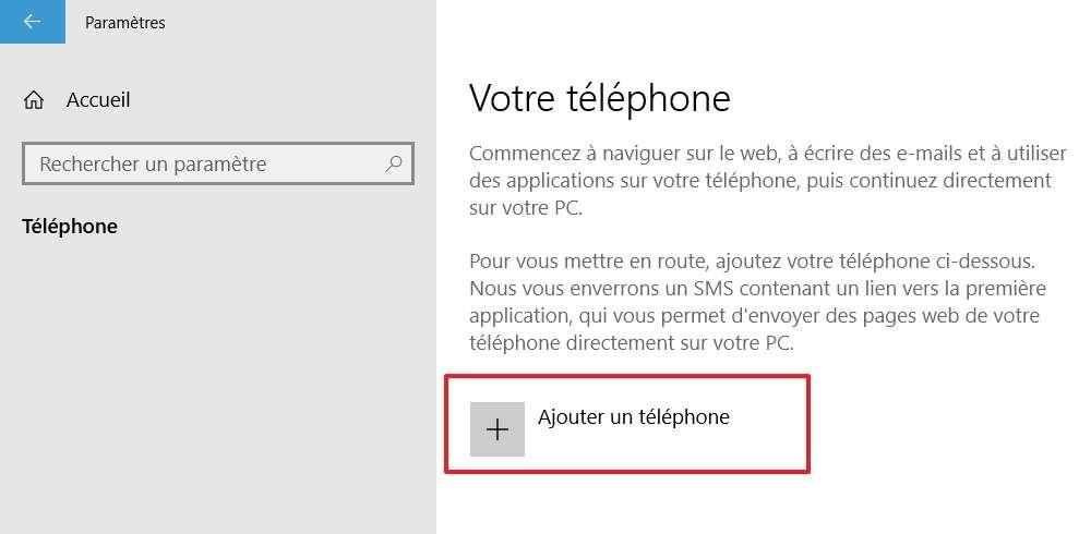 Cliquez simplement sur « Ajouter un téléphone ». © Microsoft