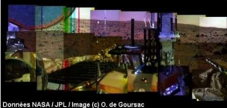 Au fur et à mesure de sa rotation en azimuth sur Mars, la caméra a ainsi calculé pour chaque prise de vue un contraste et une luminosité spécifique. Le résultat n'est pas homogène. En outre, des défauts de transmission ont créé des bandes noires sur certaines images. © Données Nasa/JPL / Images © O. de Goursac