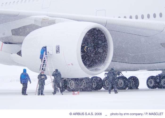 A380 : tests par grand froid