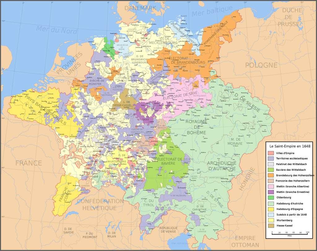 Carte de l'Empire germanique vers 1648 (elle permet de constater le morcellement territorial de cette entité politique) d'après l'Atlas historique de William Shepherd. Bibliothèque de l'université du Texas. © Wikimedia Commons, domaine public