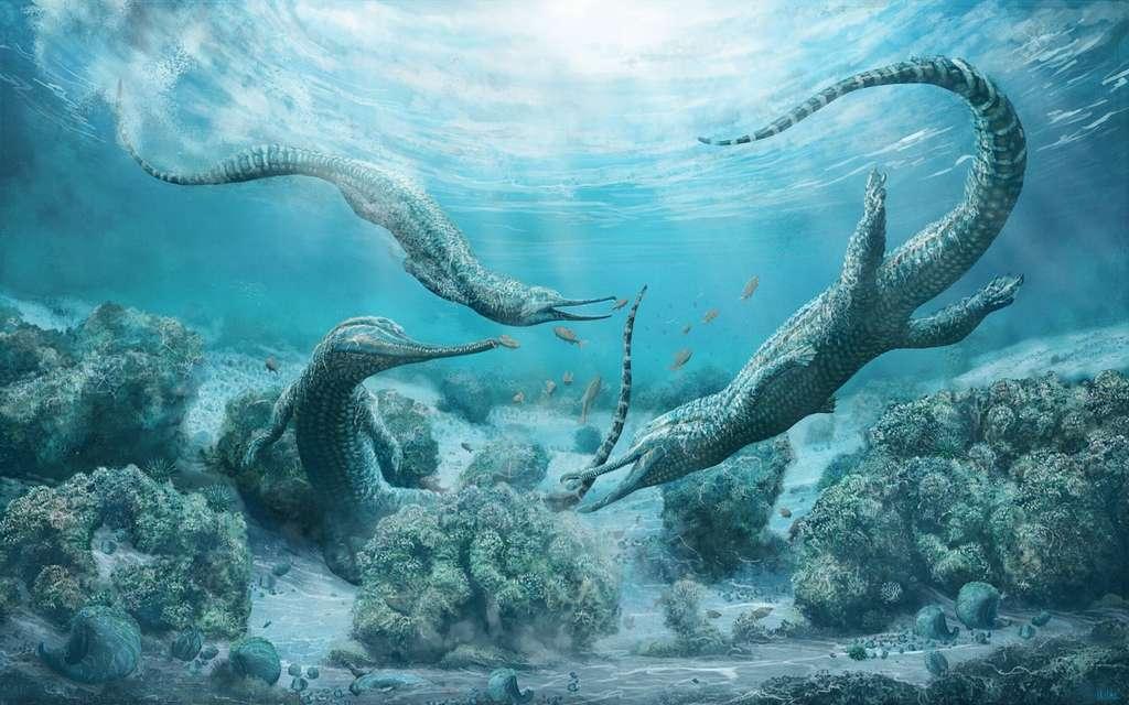 Illustration de Mystriosuchus steinbergeri, un phytosaure marin qui vivait il y a 210 millions d'années. © Mark Witton