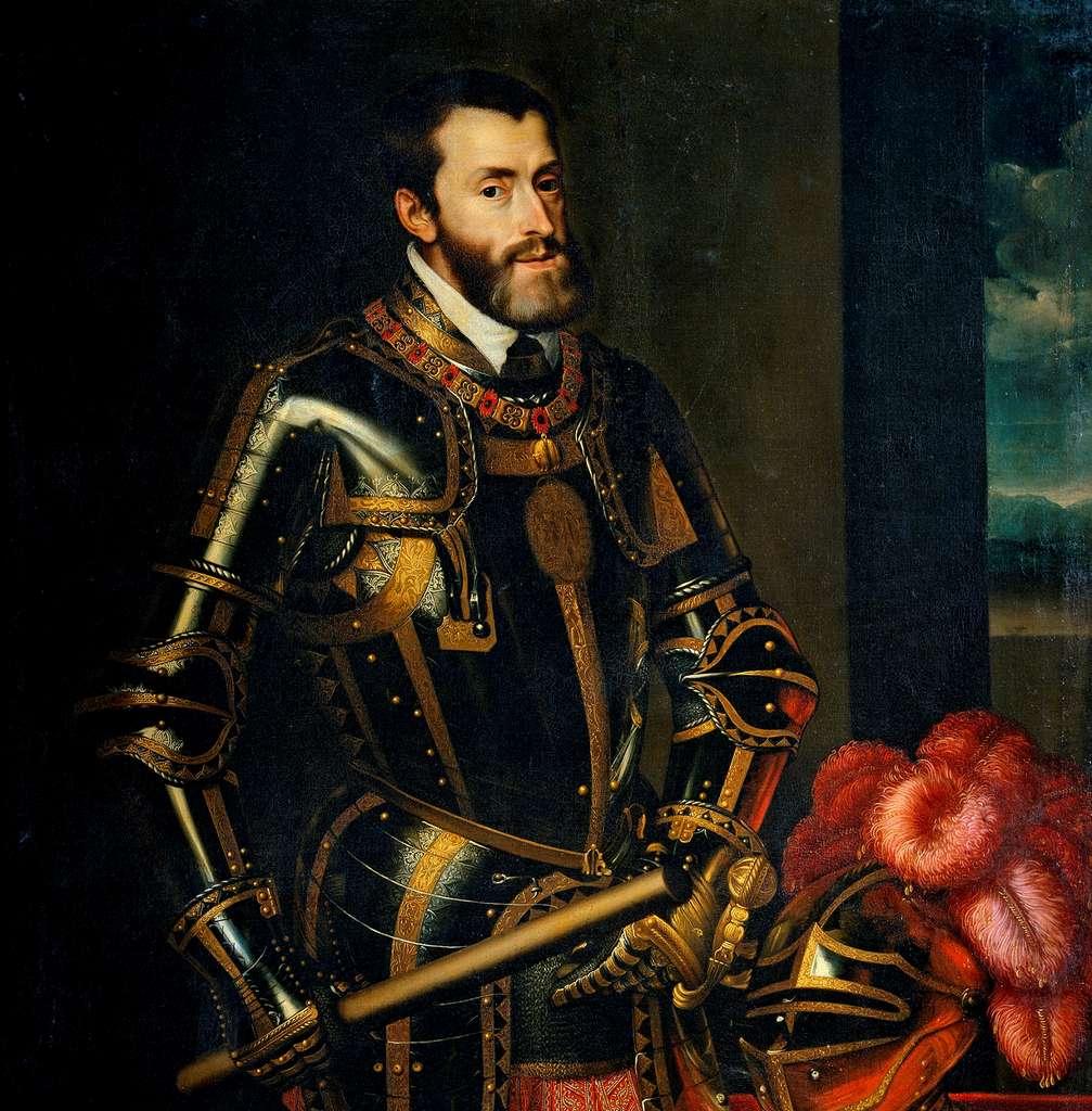 Portrait de Charles Quint par Juan Pantoja de la Cruz, en 1605, d'après le portrait réalisé par Le Titien en 1550. Musée du Prado, Madrid, Espagne. © Wikimedia Commons, domaine public