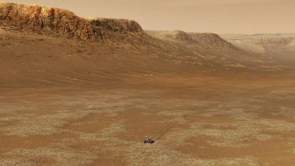 Perseverance, le rover de la Nasa arrivé sur Mars en février dernier — ici en illustration dans le cratère Jezero — devrait fournir des données utiles à mieux comprendre comment et pourquoi le climat de la planète rouge a basculé dans le passé. © JPL-Caltech, Nasa