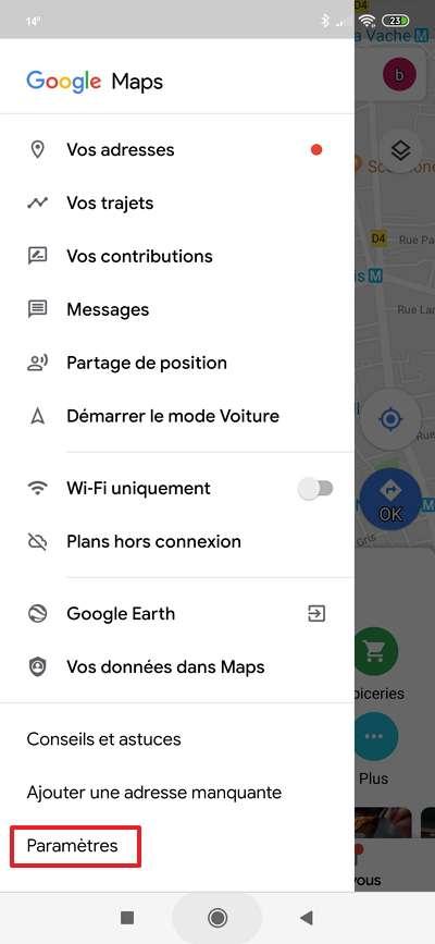 Accédez désormais aux « Paramètres », situés en bas du menu principal de Google Maps. © Google