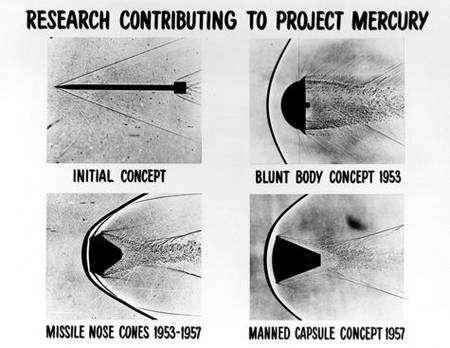 Premières études théoriques pour la conception d'un bouclier de rentrée. Crédit Nasa
