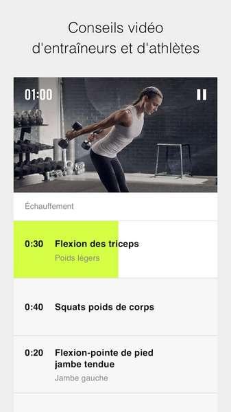 Des vidéos d'illustration vous assurent de faire les exercices correctement. © Nike