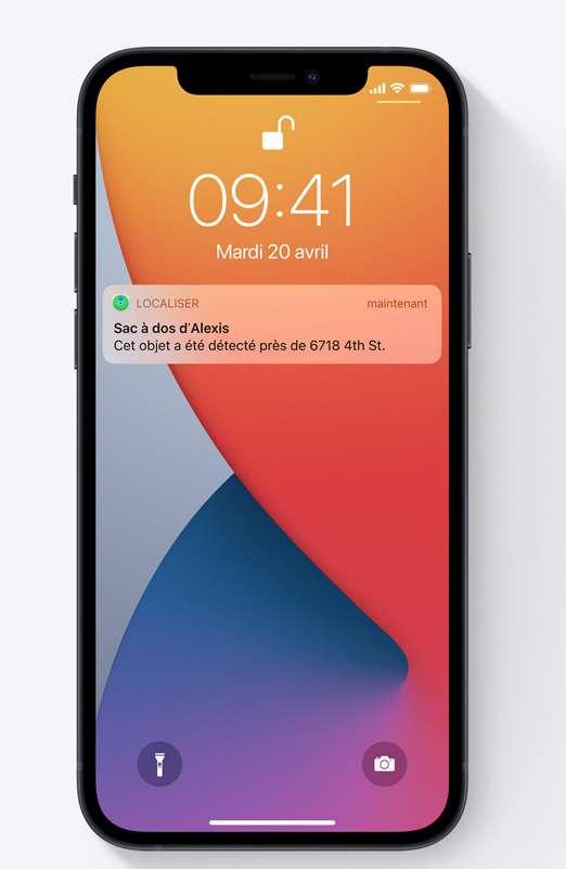 Si un AirTag est égaré, le réseau « Localiser » peut aider à le retrouver, et envoyer une notification s'il est repéré. © Apple