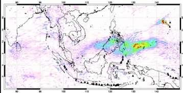 Les données de l'instrument OMI embarqué à bord du satellite Aura révèlent la présence au-dessus de l'Indonésie d'un nuage de dioxyde de soufre en provenance du volcan de la Soufrière Les scientifiques pensent que le panache observé par Calipso est un vestige de ce nuage, qui se serait transformé en un aérosol contenant des gouttelettes d'acide sulfurique (Crédits : Dutch/Finnish collaboration/KNMI/NIVR)