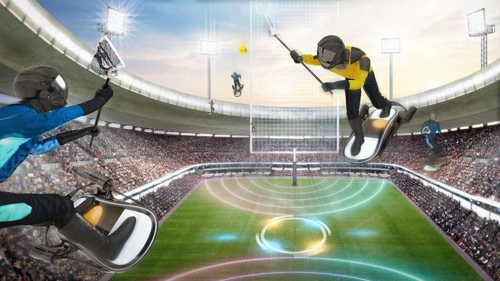 Le quidditch aérien, nouveau sport star du futur. © Samsung KX50 report