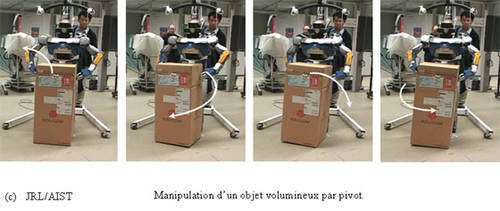 Le robot HRP-2 teste ici la technique du pivot. © JRL/AIST
