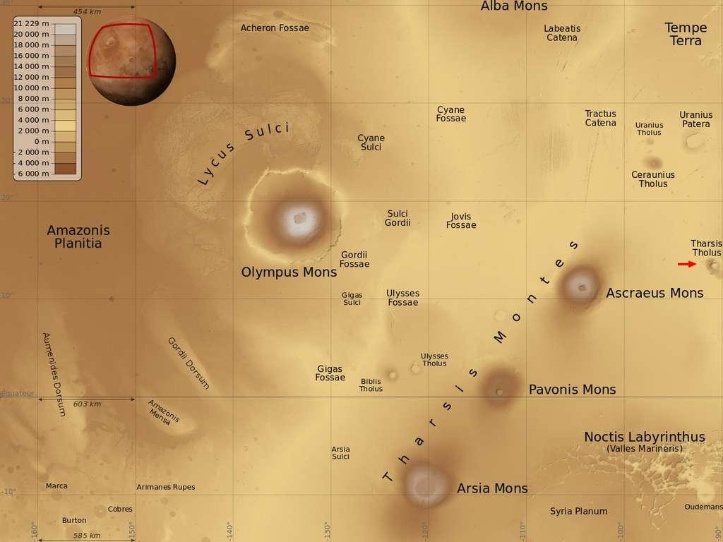 Tharsis Tholus est un volcan situé à l'est d'Olympus Mons, sur le dôme de Tharsis. © Nasa/MGS