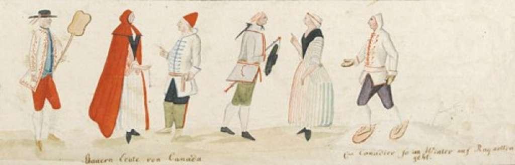 Détail d'une étude sur les habitants du Canada vers 1780. © Musée canadien de l'Histoire, musée virtuel de la Nouvelle-France.