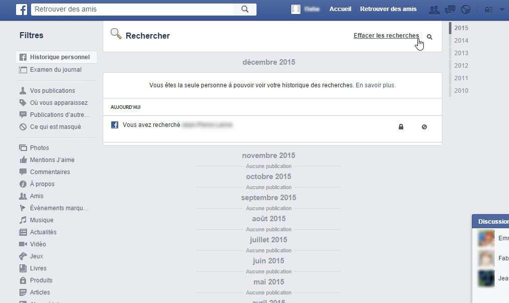 L'historique des recherches sur Facebook est conservé depuis la création d'un compte. © Futura-Sciences