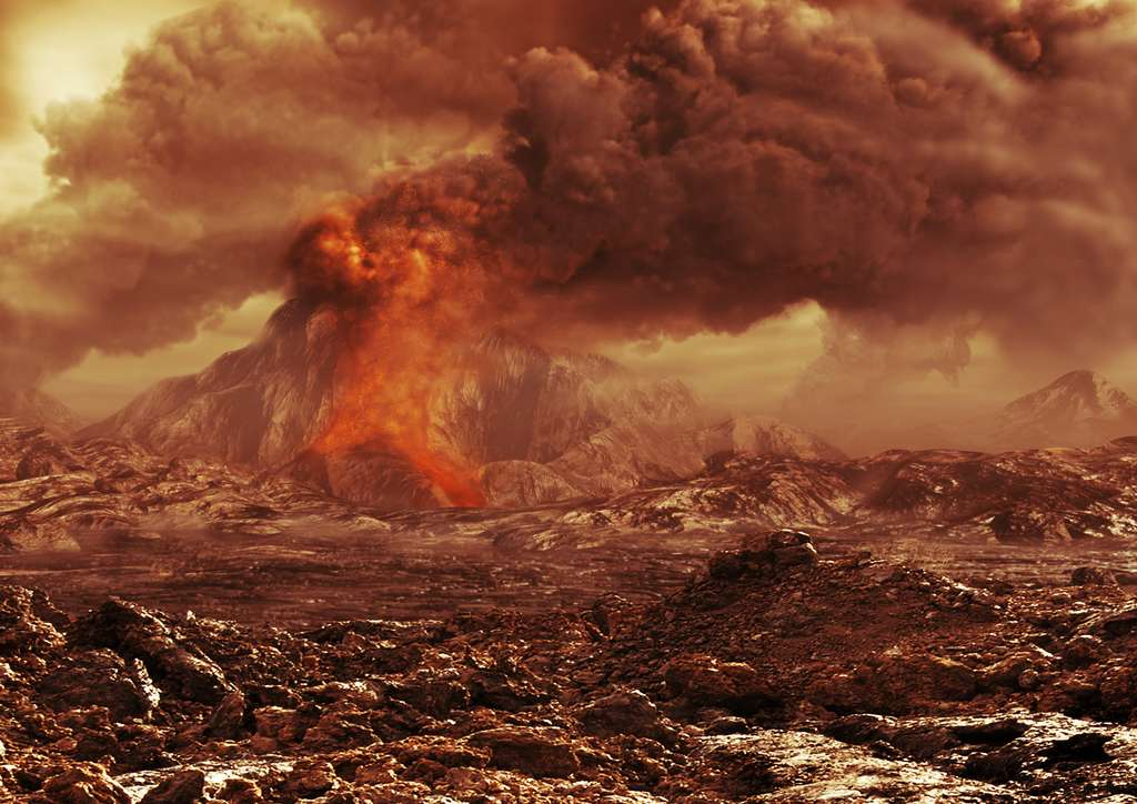 Une vue d'artiste d'une éruption sur Vénus. © ESA AOES Medialab