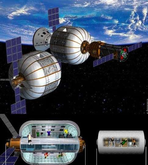 Ce projet de Station spatiale, envisagé par Bigelow Aerospace, s'appuie sur des structures gonflables reliées les unes aux autres. La firme américaine envisage de la satelliser dès 2015 et s'est associée à Boieng pour la conception d'un véhicule spatial dénommé CST-100, qui sera utilisé pour la rejoindre (au bas de l'image, comparaison d'un module gonflable BA 330 de 13,7 mètres contre 8 mètres pour le laboratoire Destiny de l'ISS). © Bigelow Aerospace