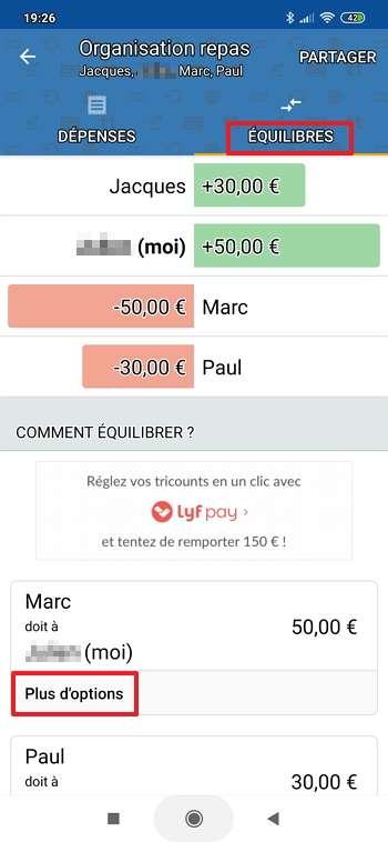 Les transferts d'argent à effectuer apparaissent en bas de l'écran. © Tricount