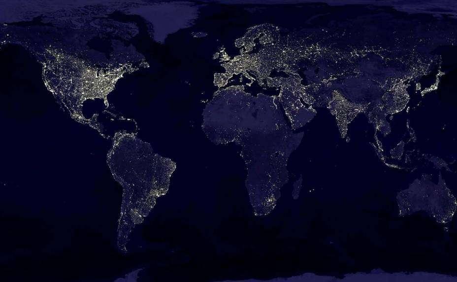 Carte du monde révélant l'urbanisation