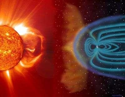 Éruption solaire et interaction avec le champ magnétique terrestre, un des sujets d'étude favoris de Solar-B.
