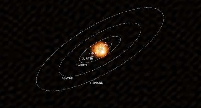 L'étoile W Hydrae vue par Alma et mise en comparaison avec le Système solaire. La Terre y serait engloutie. © ESO