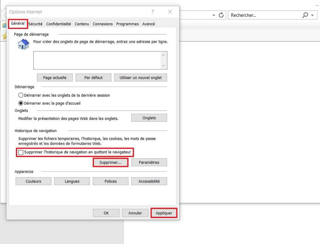 Allez dans l'onglet «Général» pour pouvoir effacer les fichiers inutiles. © Microsoft
