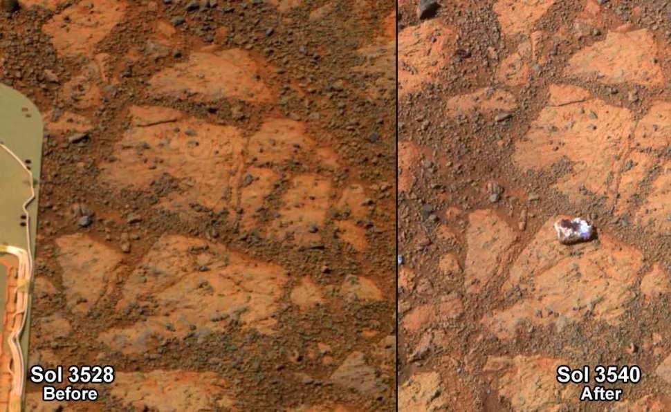 En 2014, l'auteur principe de cette étude a poursuivi la Nasa pour exiger que ses experts examinent « un organisme biologique putatif » découvert sur des images du rover Opportunity. Il s'est révélé n'être qu'un rocher. © Nasa, JPL-Caltech, Cornell University, Arizona State University