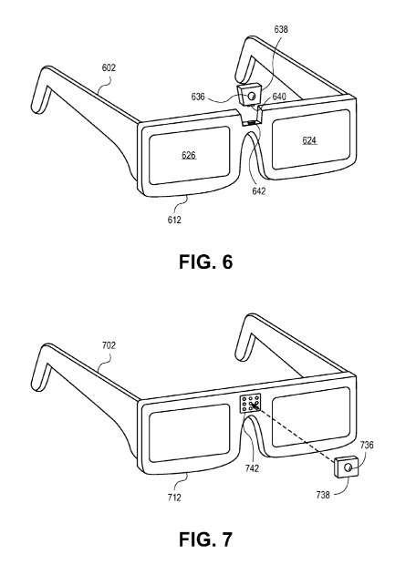 Dans son brevet, Sony décrit plusieurs options pour intégrer les récepteurs infrarouges dans les lunettes, dont le principe d'un module amovible que l'on pourrait changer en fonction de la marque du téléviseur. © Sony