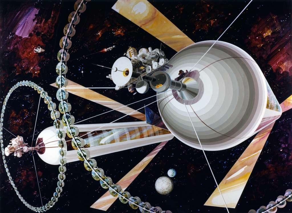 Dans les années 1970, un physicien de Princeton (États-Unis) a imaginé le même type d'habitat spatial que Pekka Janhunen. On appelle depuis ces habitats, des cylindres O'Neill. © Rick Guidice, Nasa