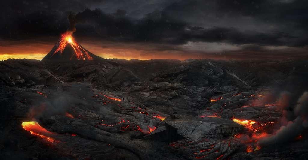 Les éruptions volcaniques produisent de grandes quantités de dioxyde de soufre (SO2) qui se transforment ensuite en particules fines, des aérosols sulfatés (SO4). © Jagoush, Adobe Stock