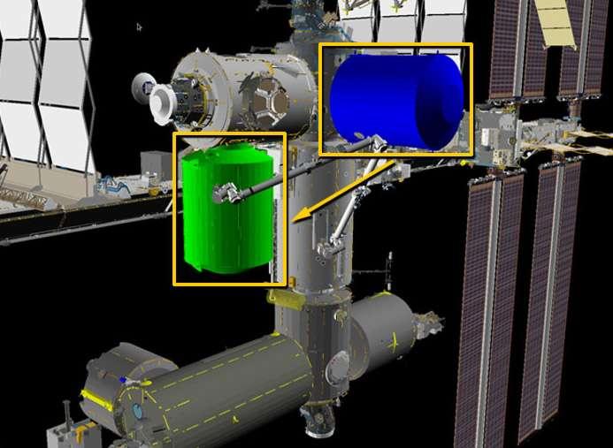 Relocalisation du module permanent multifonctionnel (PMM), construit par Thales Alenia Space, afin de libérer la place pour le futur port d'amarrage des véhicules de transport habités de SpaceX et Boeing. © Nasa