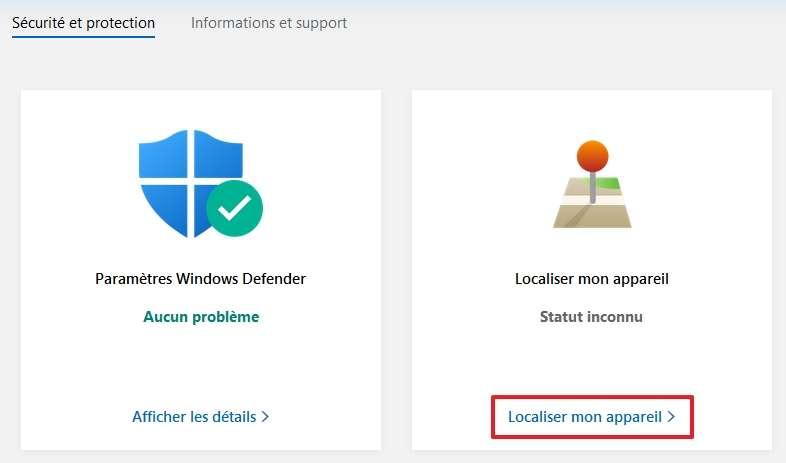 Cliquez sur « Localiser mon appareil ». © Microsoft