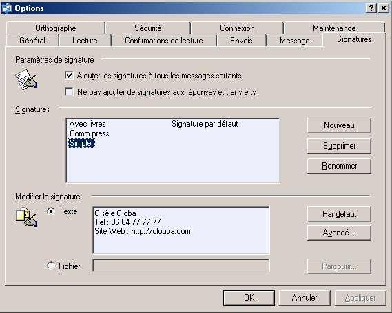 Signature simple entrée directement depuis Outlook Express.