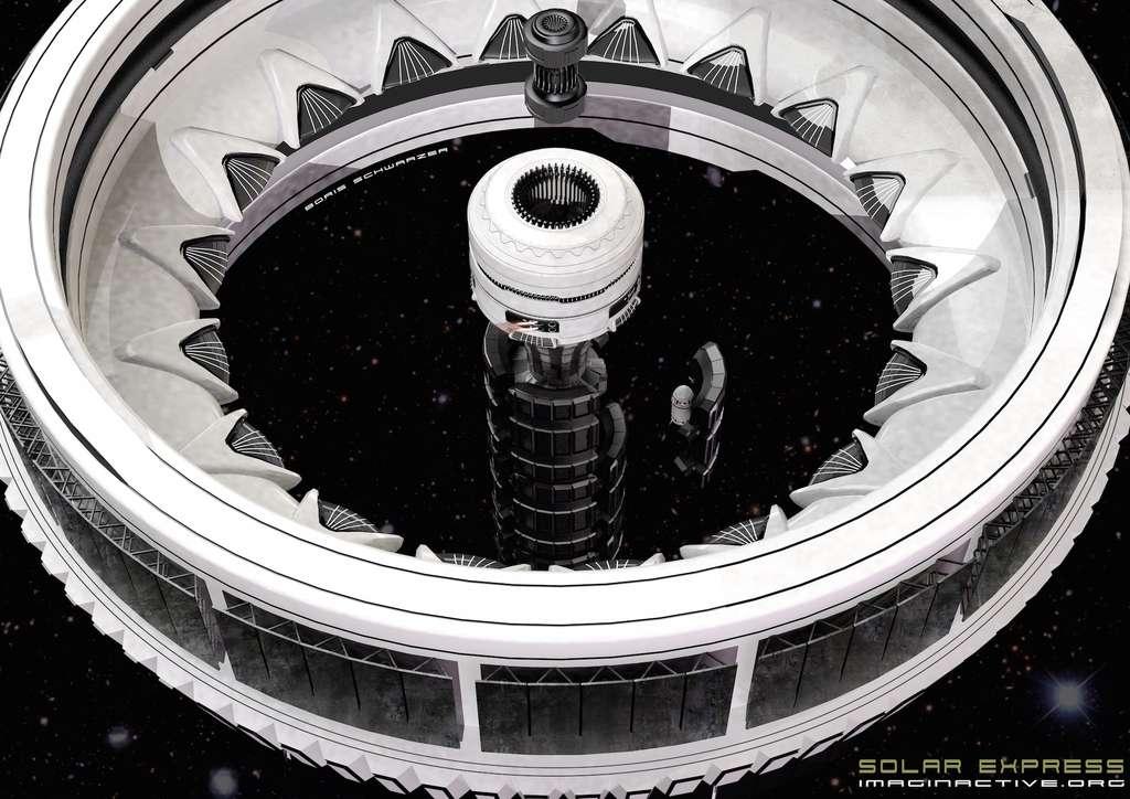Ville spatiale en forme d'anneau « qui pourrait tourner autour de l'axe longitudinal et fournir la gravité artificielle dont les passagers auraient besoin pour se déplacer et vivre pendant les longs mois de voyage ». © Imaginactive