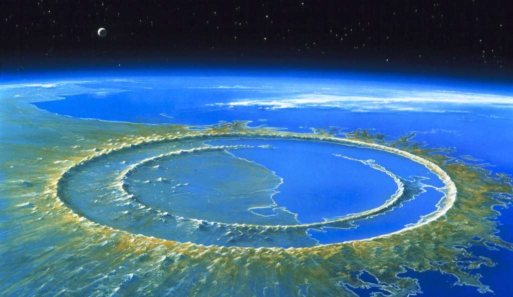 Le cratère de Chixculub, quelques milliers d'années après la disparition des dinosaures, une image d'artiste. © Detlev van Ravenswaay, Science Source