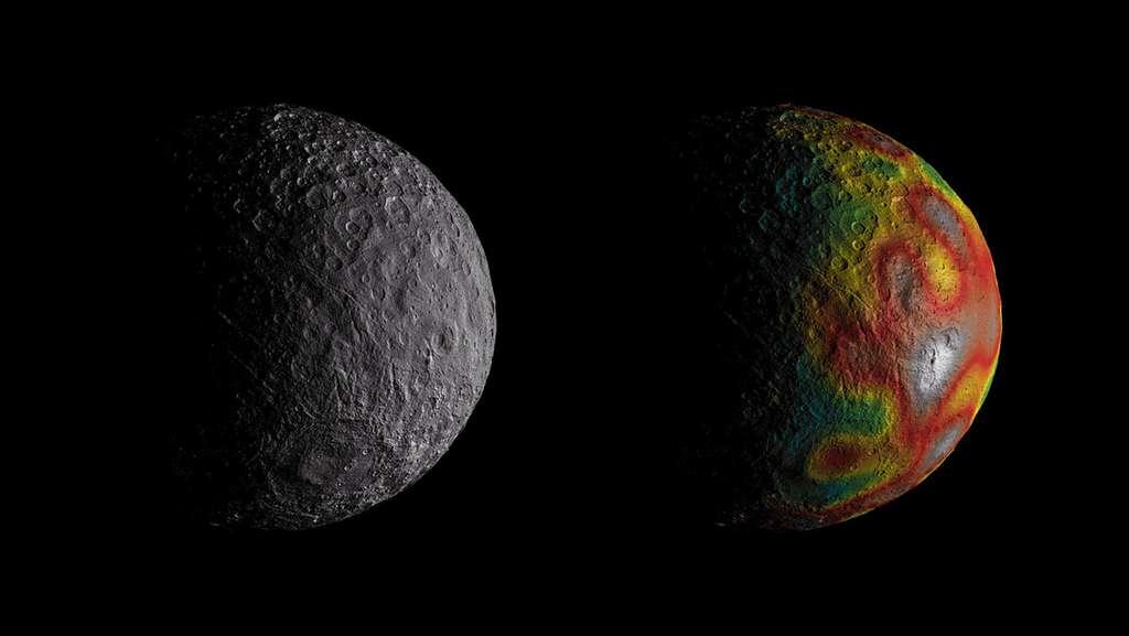 Des mesures de la variation du champ de gravité de Cérès (image en couleurs) renseignent les scientifiques sur la structure interne de Cérès. Elles suggèrent que cette planète naine a pu avoir dans son passé un océan global. © Nasa/JPL-Caltech/UCLA/MPS/DLR/IDA