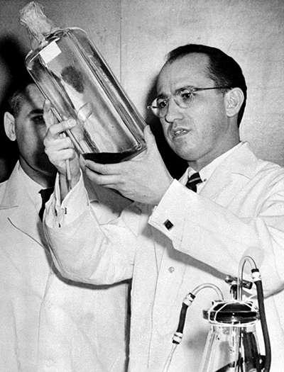 Le professeur Jonas E. Salk examine un flacon dans lequel le vaccin de la poliomyélite a été préparé, le 12 avril 1955 dans son laboratoire de l'université du Michigan, à Ann Arbor. © Intercontinentale, AFP