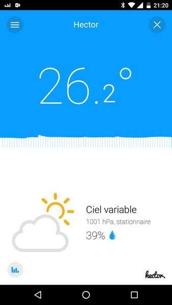L'application Hector dans sa version Android. Dès que le smartphone (avec la connexion Bluetooth activée) passe à proximité du cube, elle affiche la température, le taux d'humidité, la pression atmosphérique ainsi qu'une prévision météo à 24 heures. L'application sauvegarde un historique sur 20 jours. © Marc Zaffagni, Futura-Sciences