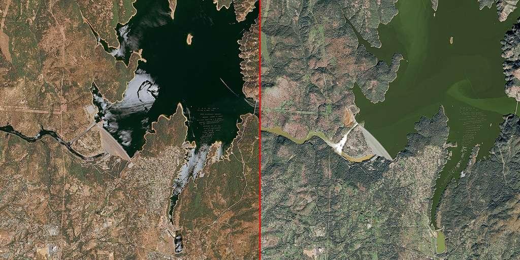 À droite, une image acquise par Spot 7 le 14 février 2017, à comparer à une image de Spot 6 le 27 juin 2016, où les berges du lac sont bien visibles. Chaque image couvre une superficie de 682 km2 et montre des détails de plus ou moins 5 m (1,5 m). © 2017, Airbus Defence and Space